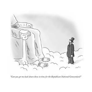 """""""Can you get me back down there in time for the Republican National Conven?"""" - Cartoon by Kim Warp"""