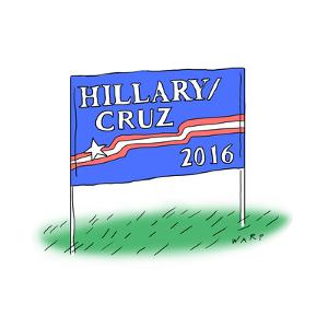 Hillary/Cruz 2016 - Cartoon by Kim Warp
