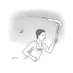 Mosquito Olympic Torch Carrier - Cartoon by Kim Warp