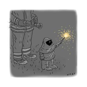 Sparkler Safety - Cartoon by Kim Warp