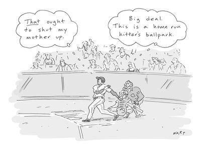 """The thoughts of a baseball player and his mother are displayed:""""That ought? - New Yorker Cartoon"""