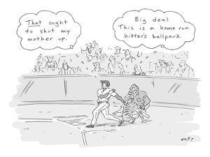 """The thoughts of a baseball player and his mother are displayed:""""That ought? - New Yorker Cartoon by Kim Warp"""