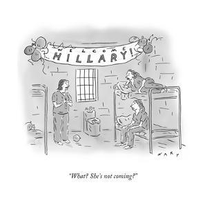 """""""What? She's not coming?"""" - Cartoon by Kim Warp"""