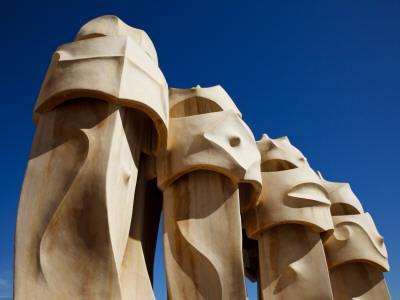 Chimney Pots on Roof of Casa Mila, also known as La Pedrera, Designed by Antoni Gaudi