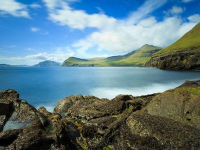 Coastal Scenery with the Vagafjordur and Streymoy Island in the Background, Village of Sydradalur,