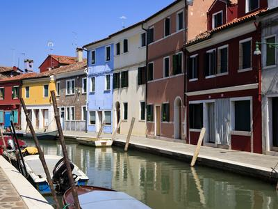 Colourfully Painted Houses Situated on Canal Banks on the Island of Burano, Located Near Venice, Ve