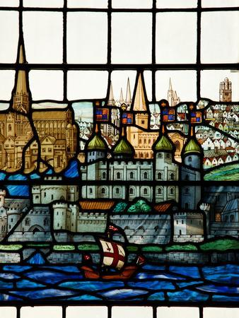 Detail from a Stained Glass Window in the Church of All Hallows by the Tower, the Oldest Church in