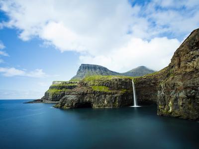 Village of Gasadalur Overlooked by the 612M Heinanova Mountain, Vagar Island, Faroe Islands, Denmar