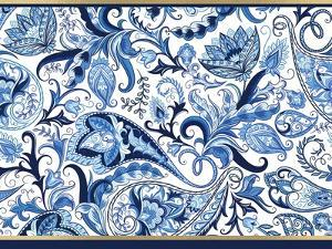 Blue and Gold Paisleys 1 by Kimberly Allen