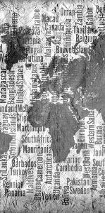 Map of the World Black and White Tryp 2 by Kimberly Allen