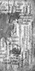 Map of the World Black and White Tryp 3 by Kimberly Allen