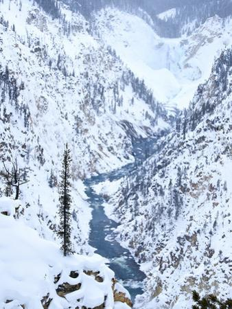 Artists Point of Grand Canyon Yellowstone in Winter, Yellowstone National Park, UNESCO World Herita