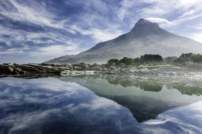Lenticular Cloud Above Lion's Head on Signal Hill Reflected in Ocean, Camp's Bay, Cape Town