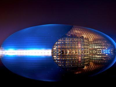 National Centre for the Performing Arts, Egg Shape Reflection, Illuminated During National Day Fest