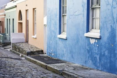Pastel Colored Homes on Cobblestone Street in Bo-Kaap Residential District
