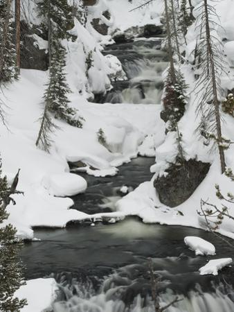 Snowy Stream in Yellowstone National Park, UNESCO World Heritage Site, Wyoming, United States of Am