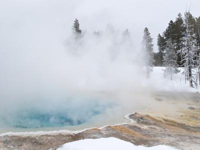 West Thumb Geyser Basin Winter Landscape with Geothermal Spring, Yellowstone National Park, UNESCO