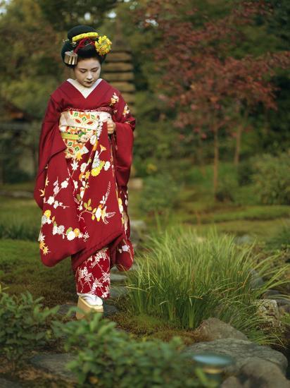 Kimono-Clad Geisha in a Park--Photographic Print