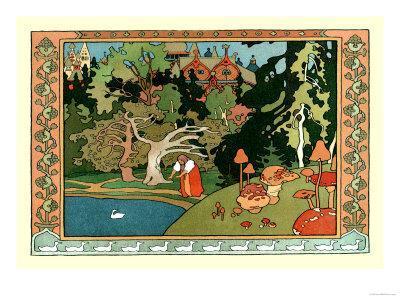 Bilibin Russian Folk Art Print White Duck and Witch