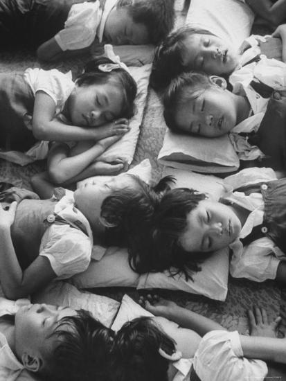 Kindergarten Students at the Yumin Chinese School Laying Head to Head During Nap Time-Howard Sochurek-Photographic Print