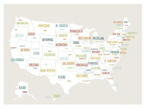 Beige USA Map by Kindred Sol Collective