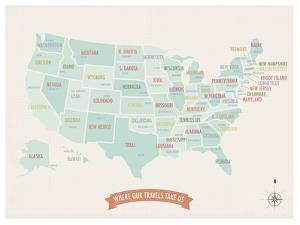 Beige USA Travel Map by Kindred Sol Collective
