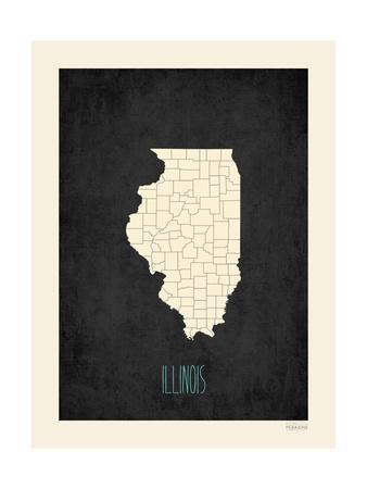 Black Map Illinois