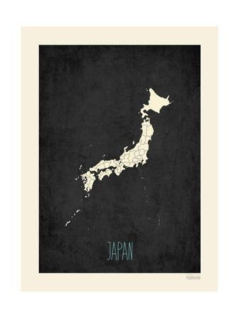 Black Map Japan