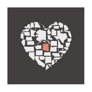 Black USA Heart Graphic Print Featuring Arizona by Kindred Sol Collective