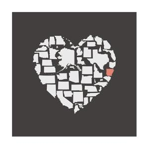 Black USA Heart Graphic Print Featuring Arkansas by Kindred Sol Collective