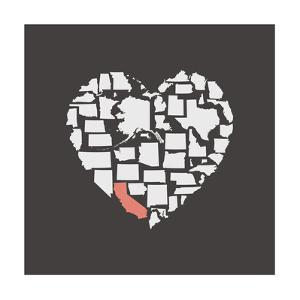 Black USA Heart Graphic Print Featuring California by Kindred Sol Collective