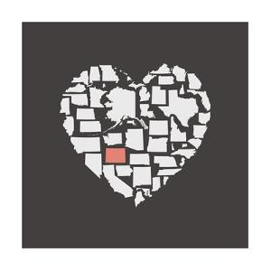 Black USA Heart Graphic Print Featuring Colorado by Kindred Sol Collective
