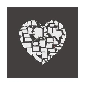Black USA Heart Graphic Print Featuring Delaware by Kindred Sol Collective