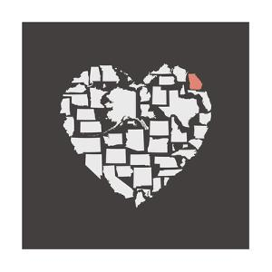 Black USA Heart Graphic Print Featuring Georgia by Kindred Sol Collective