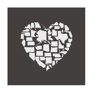 Black USA Heart Graphic Print Featuring Hawaii by Kindred Sol Collective