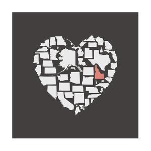Black USA Heart Graphic Print Featuring Idaho by Kindred Sol Collective