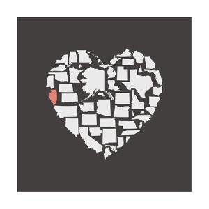 Black USA Heart Graphic Print Featuring Illinios by Kindred Sol Collective
