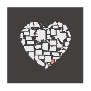 Black USA Heart Graphic Print Featuring Indiana by Kindred Sol Collective