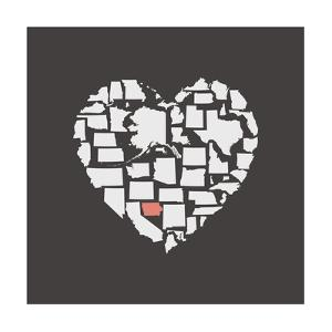 Black USA Heart Graphic Print Featuring Iowa by Kindred Sol Collective