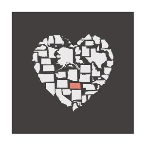 Black USA Heart Graphic Print Featuring Kansas by Kindred Sol Collective