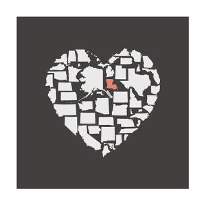 Black USA Heart Graphic Print Featuring Lousiana by Kindred Sol Collective