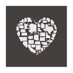 Black USA Heart Graphic Print Featuring Maine by Kindred Sol Collective