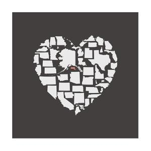 Black USA Heart Graphic Print Featuring Massachussetts by Kindred Sol Collective