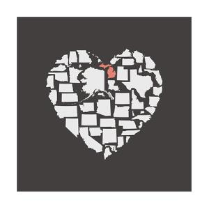 Black USA Heart Graphic Print Featuring Michigan by Kindred Sol Collective