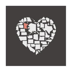 Black USA Heart Graphic Print Featuring Minnesota by Kindred Sol Collective