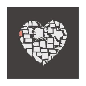 Black USA Heart Graphic Print Featuring Mississippi by Kindred Sol Collective