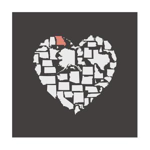 Black USA Heart Graphic Print Featuring Missouri by Kindred Sol Collective
