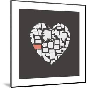 Black USA Heart Graphic Print Featuring Montana by Kindred Sol Collective