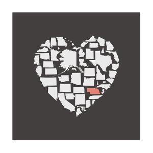 Black USA Heart Graphic Print Featuring Nebraska by Kindred Sol Collective