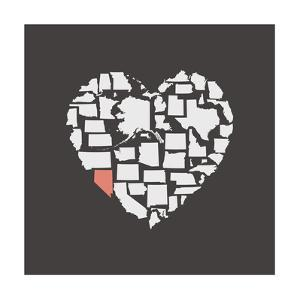 Black USA Heart Graphic Print Featuring Nevada by Kindred Sol Collective